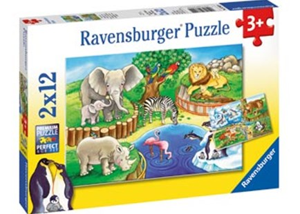 Ravensburger - Animals In The Zoo Puzzle 2x12pc by  (4005556076024) - Jigsaw - Jigsaws