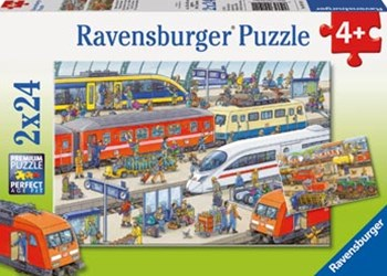 Ravensburger - Busy Train Station Puzzle 2x24pc
