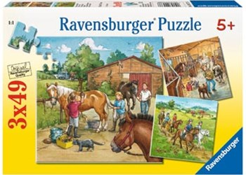 Ravensburger - A Day with Horses Puzzle 3x49pc