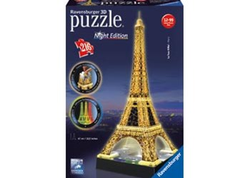 Ravensburger - Eiffel Tower at Night 3D Puzzle 216pc