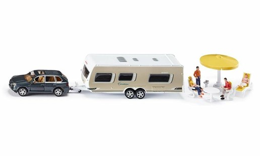 Siku - Porsche Car with Caravan - 1:55 Scale - Children's Toys & Games Vehicles