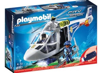 Playmobil - Police Helicopter with LED Searchlight - Children's Toys & Games Figures & Dolls
