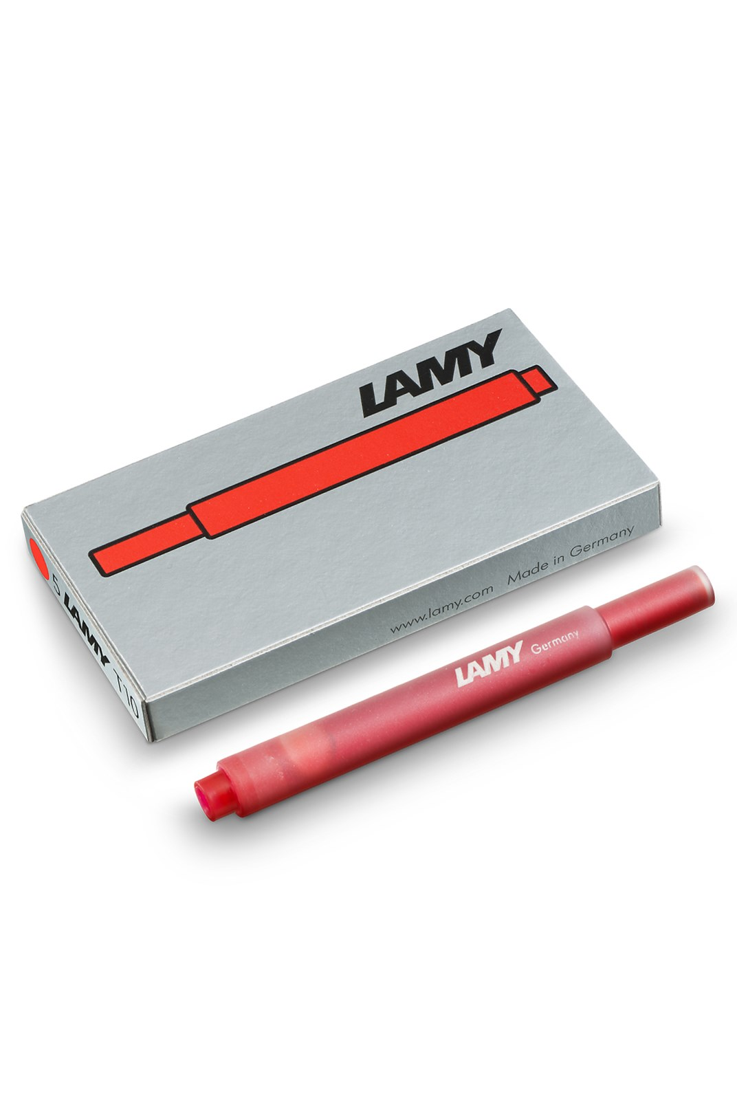 LAMY - T10 Fountain Pen Ink Cartridges - Pack of 5 - Hangsell - Red