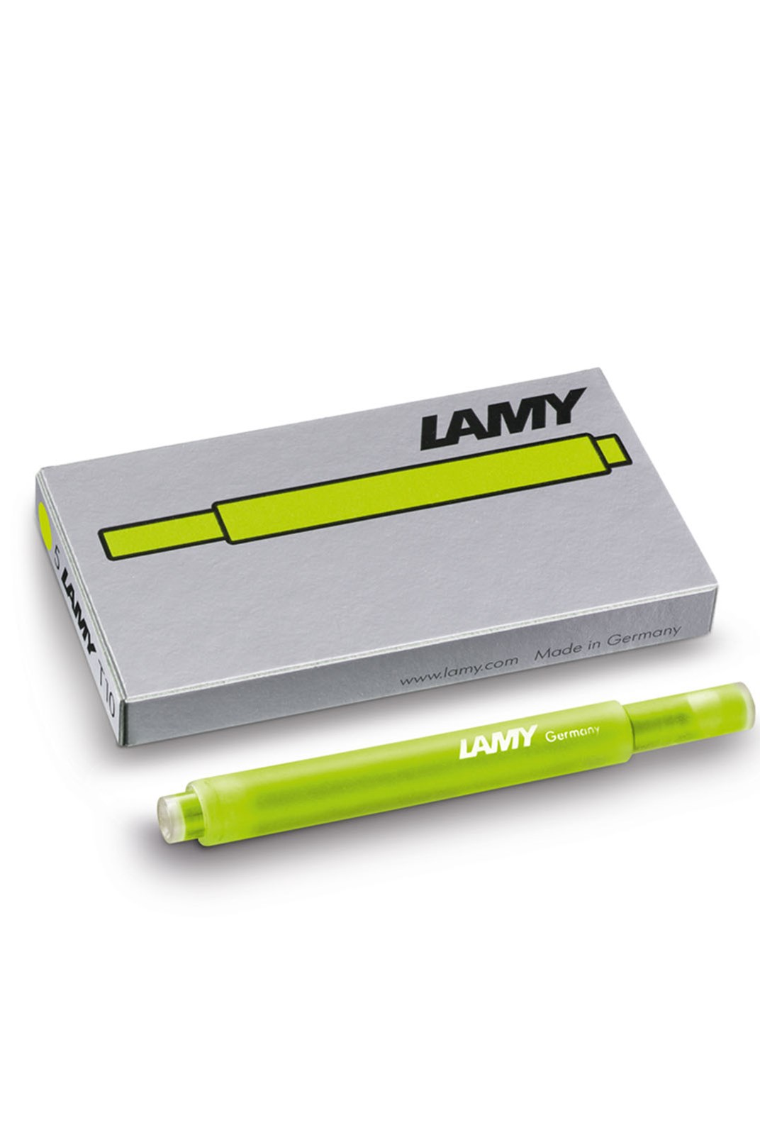 LAMY - T10 Fountain Pen Ink Cartridges - Pack of 5 - Neon Lime