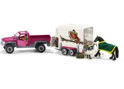 Schleich - Pick Up with Horse Box - Children's Toys & Games Figures & Dolls