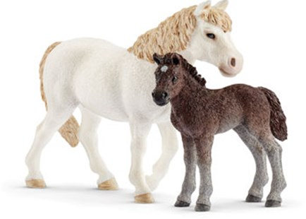 Schleich - Pony Mare & Foal - Children's Toys & Games Figures & Dolls