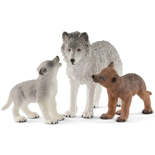 Schleich Mother Wolf With Pups - Children's Toys & Games Figures & Dolls