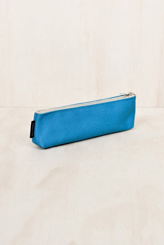 Delfonics - Canvas Thin Pencil Case - Aqua Blue