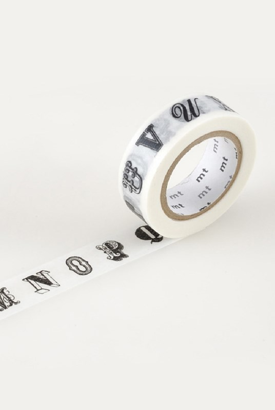 Masking Tape MT - Single Roll - Alphabet Black