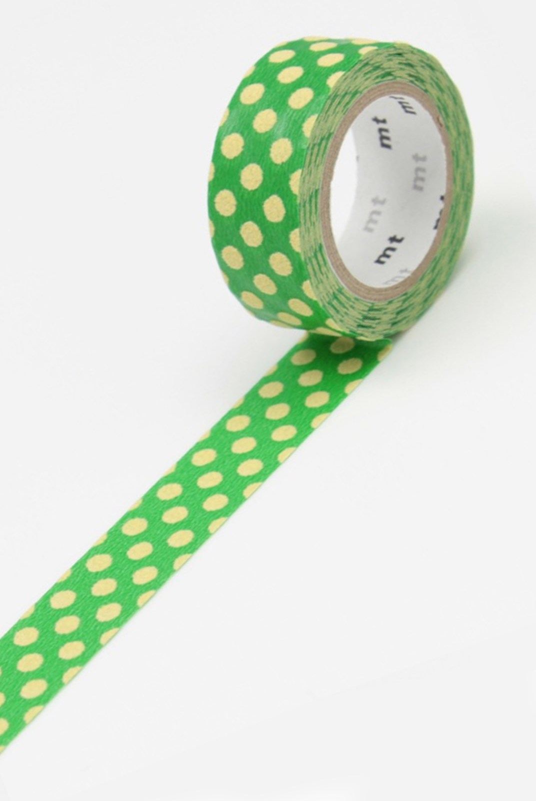 Masking Tape MT - Single Roll - Fabric - Dot Green & Cream