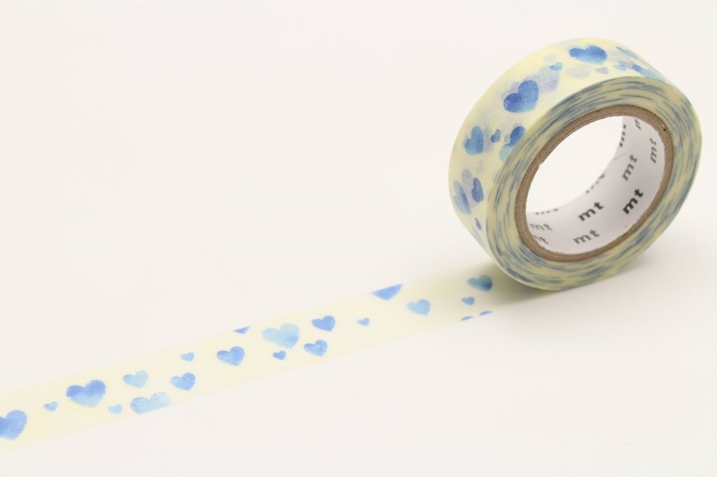 Masking Tape MT - Single Roll - Heart Stamp Blue