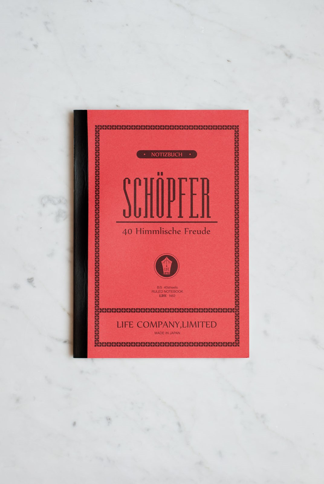 Life Stationery - Japanese Paper 'Schopfer' Notebook - Ruled - B5 - Red