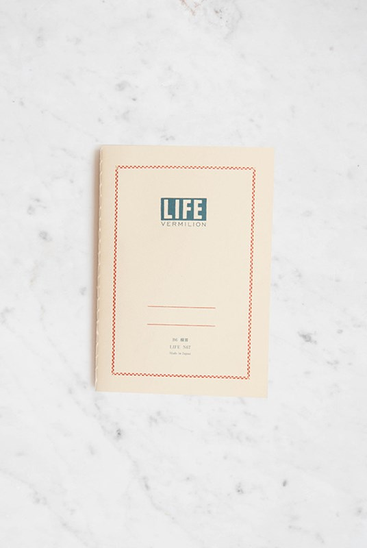Life Stationery - Japanese Paper 'Vermilion' Notebook - Ruled - B6 - Cream