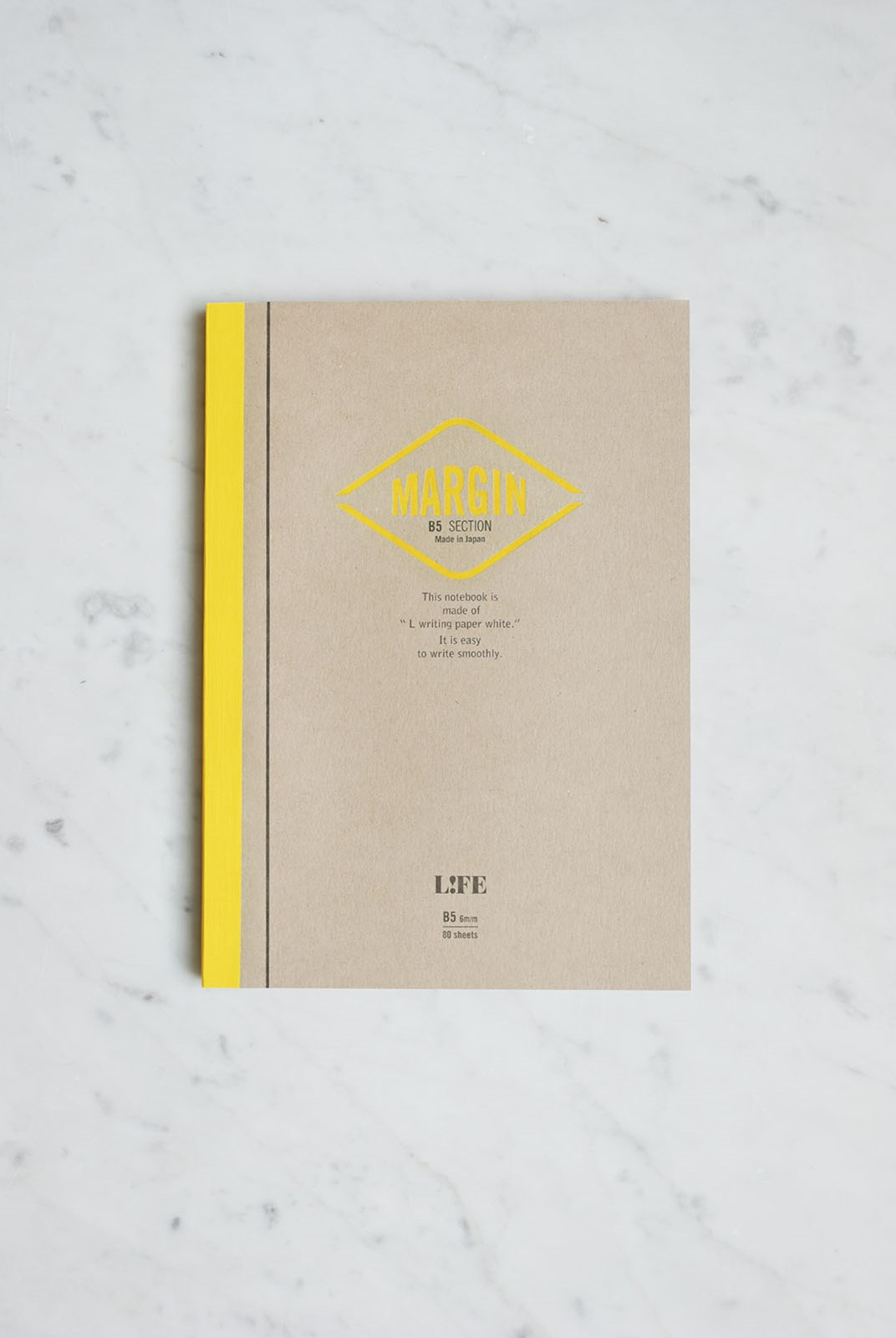 Life Stationery - Japanese Paper Margin Notebook - Grid - B5 - Kraft & Yellow