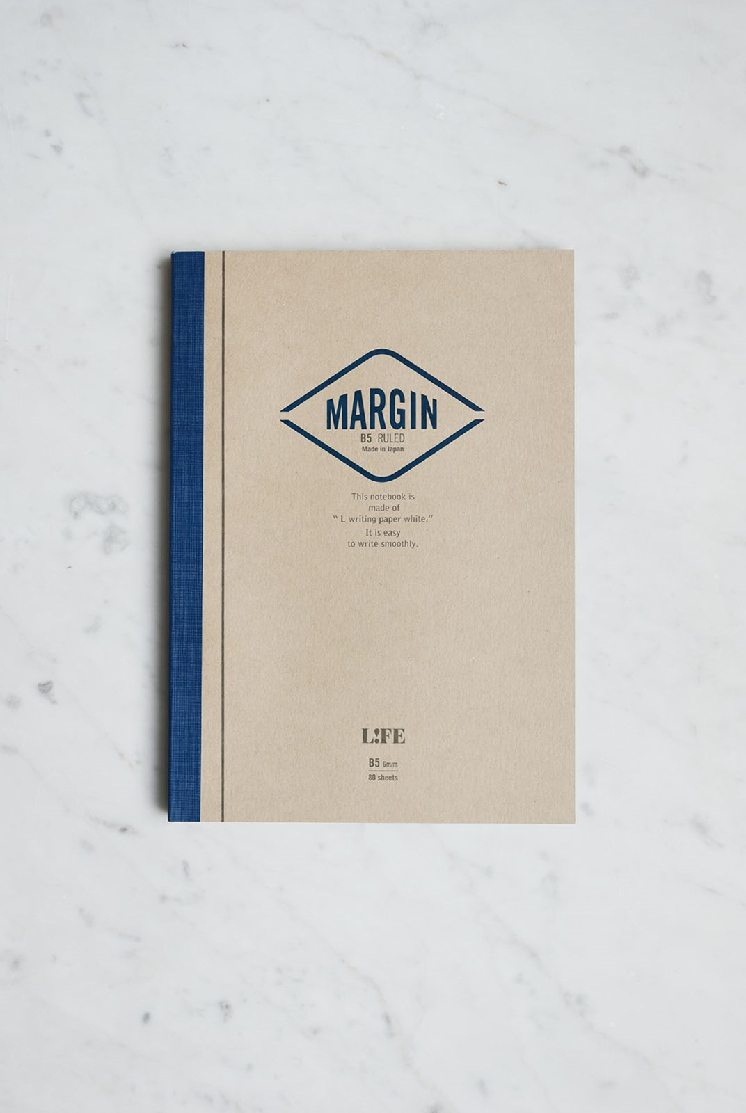 Life Stationery - Japanese Paper Margin Notebook - Ruled - B5 - Kraft & Blue