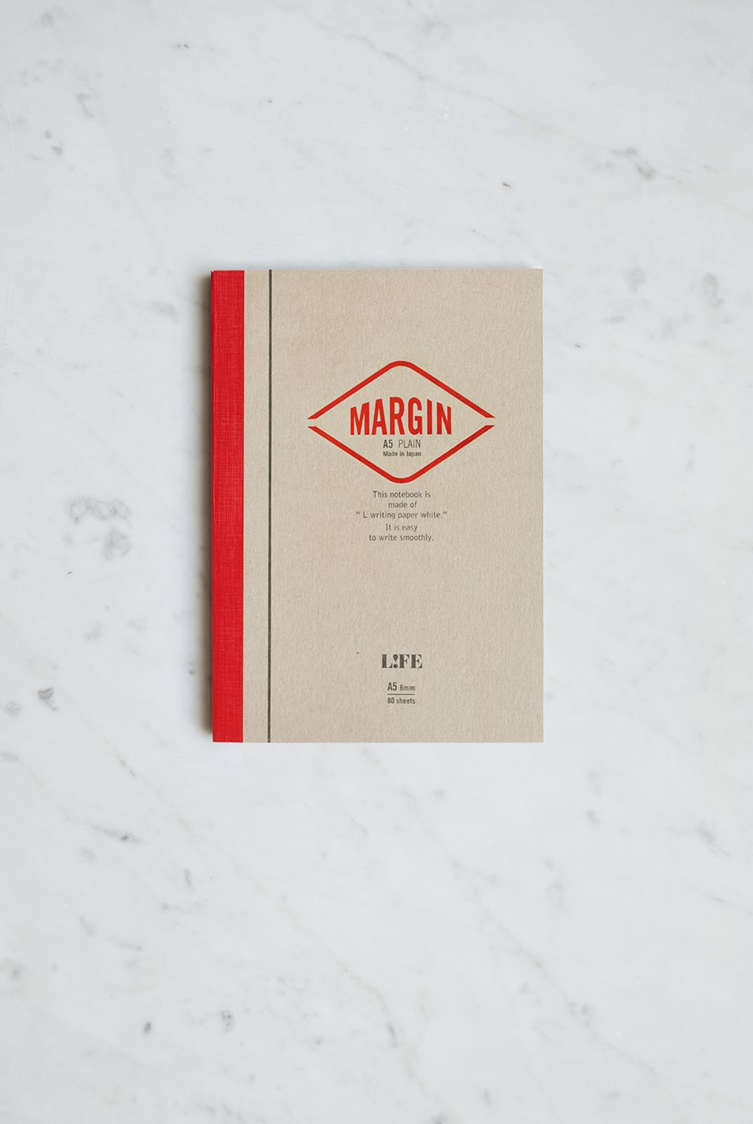 Life Stationery - Japanese Paper Margin Notebook - Plain - A5 - Kraft & Red