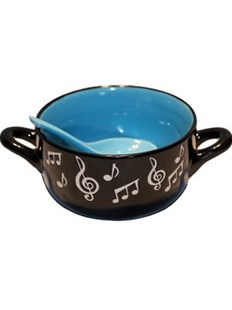 Music Note Bowl With Spoon - Blue - Entertainment Music General