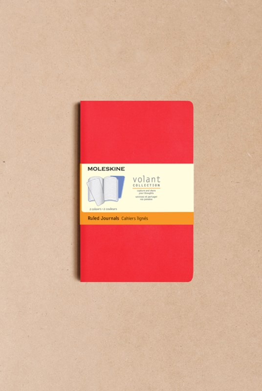 Moleskine - Volant Notebook - Set of 2 - Ruled - Pocket - Geranium