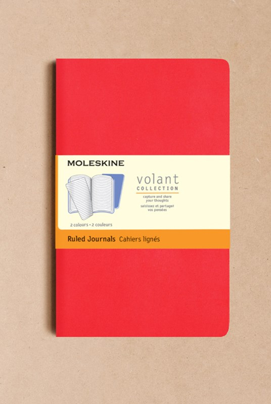 Moleskine - Volant Notebook - Set of 2 - Ruled - Large - Geranium