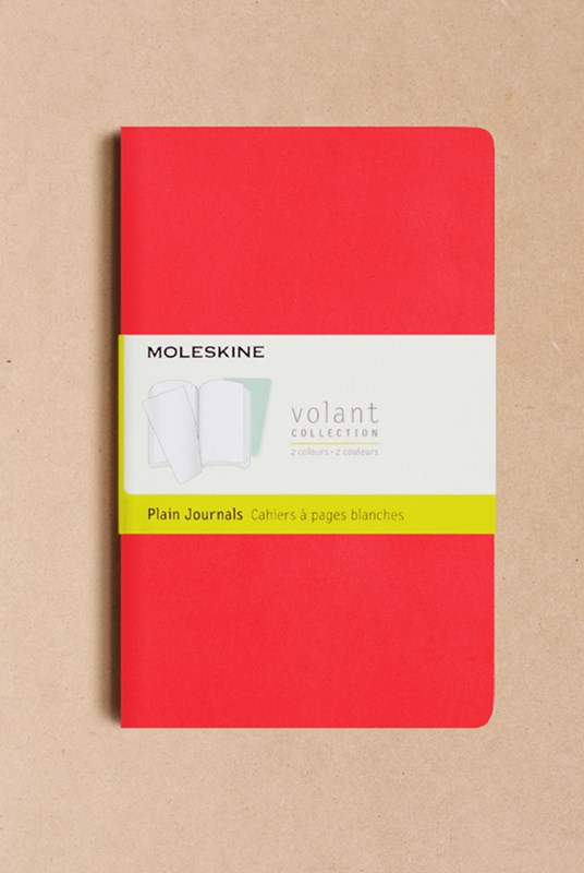 Moleskine - Volant Notebook - Set of 2 - Plain - Large - Geranium