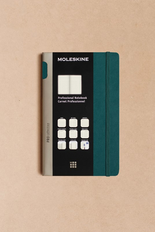 Moleskine - Professional Hard Cover Notebook - Ruled - Large - Tide Green
