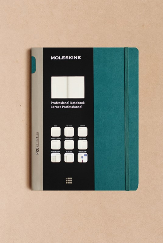 Moleskine - Professional Hard Cover Notebook - Ruled - Extra Large - Tide Green