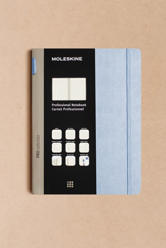 Moleskine - Professional Hard Cover Notebook - Ruled - Extra Large - Aster Grey