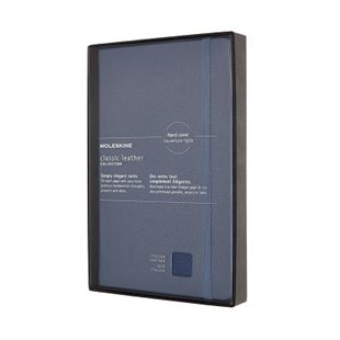 Moleskine - LE Classic Leather HC NB RLD LRG Blue - Notebooks & Journals Notebook - Ruled