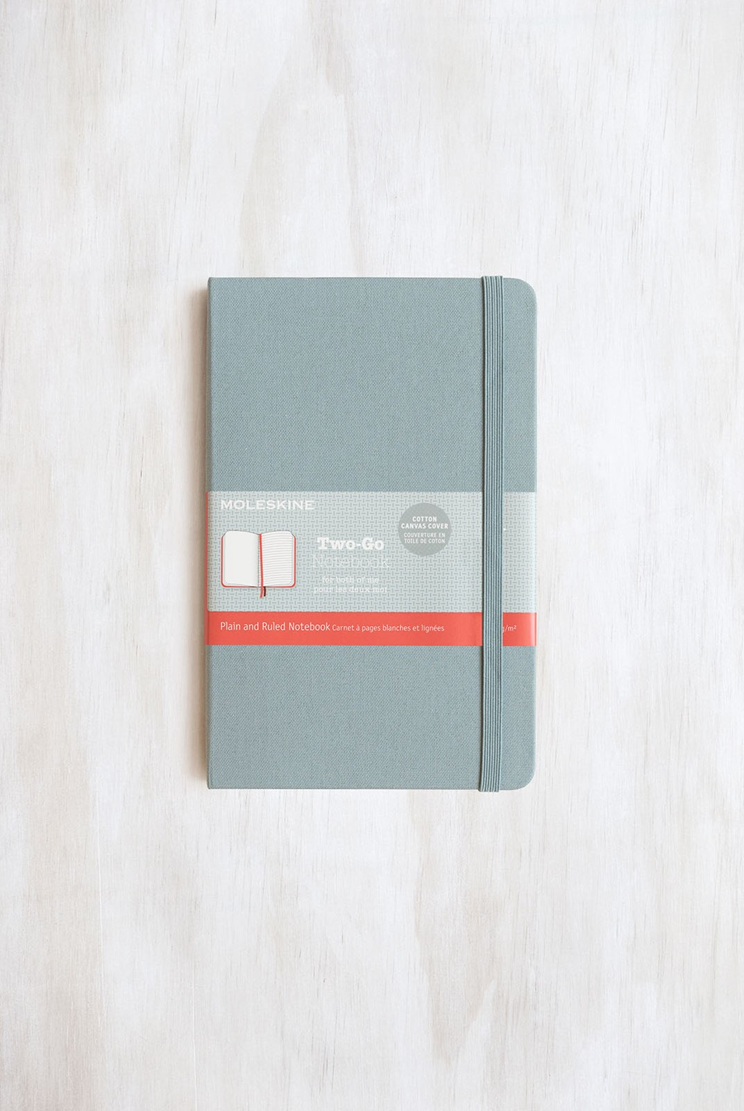 Moleskine - Two-Go Notebook - Canvas Cover - Ruled + Plain - Medium - Saxe Blue