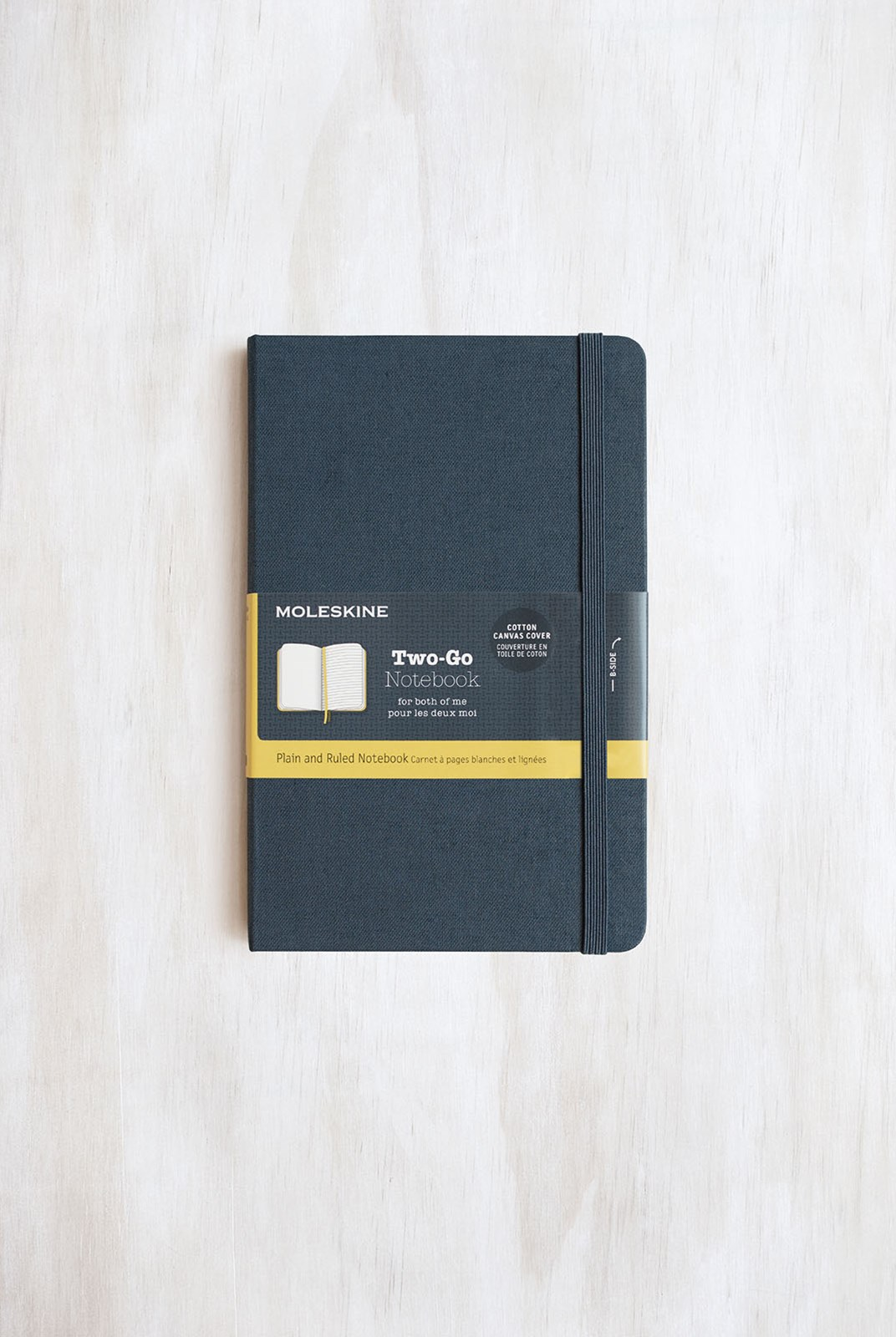 Moleskine - Two-Go Notebook - Canvas Cover - Ruled + Plain - Medium - Oriental Blue