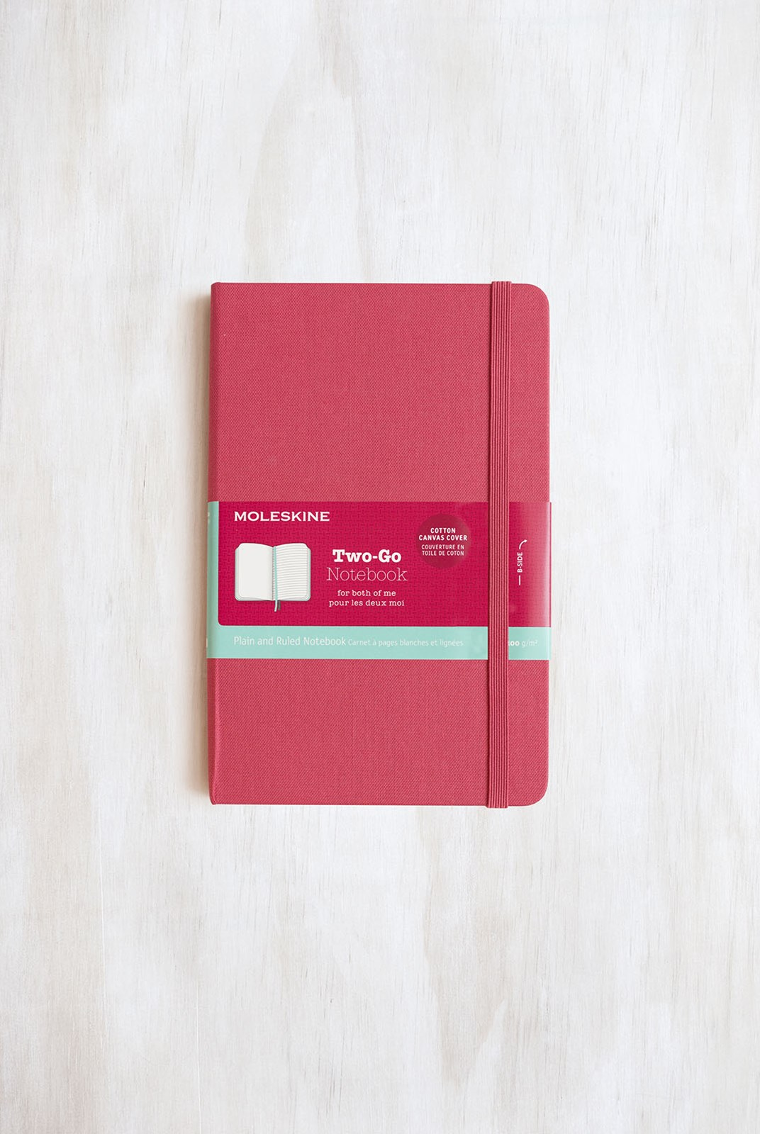 Moleskine - Two-Go Notebook - Canvas Cover - Ruled + Plain - Medium - Raspberry Red