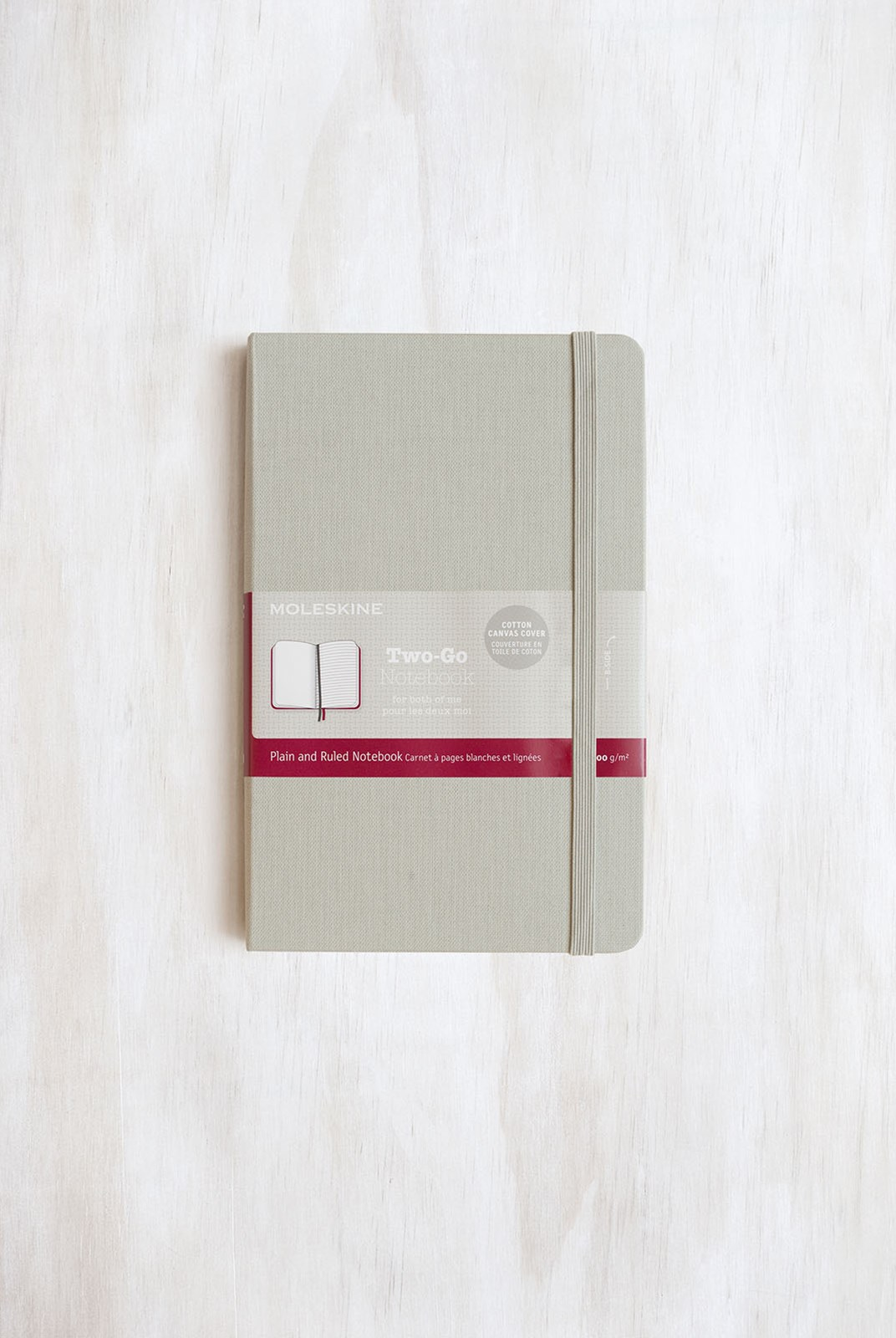 Moleskine - Two-Go Notebook - Canvas Cover - Ruled + Plain - Medium - Ash Grey