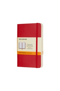 Moleskine - Classic Soft Cover Notebook - Ruled - Pocket - Scarlet Red - Notebooks & Journals Notebook - Ruled