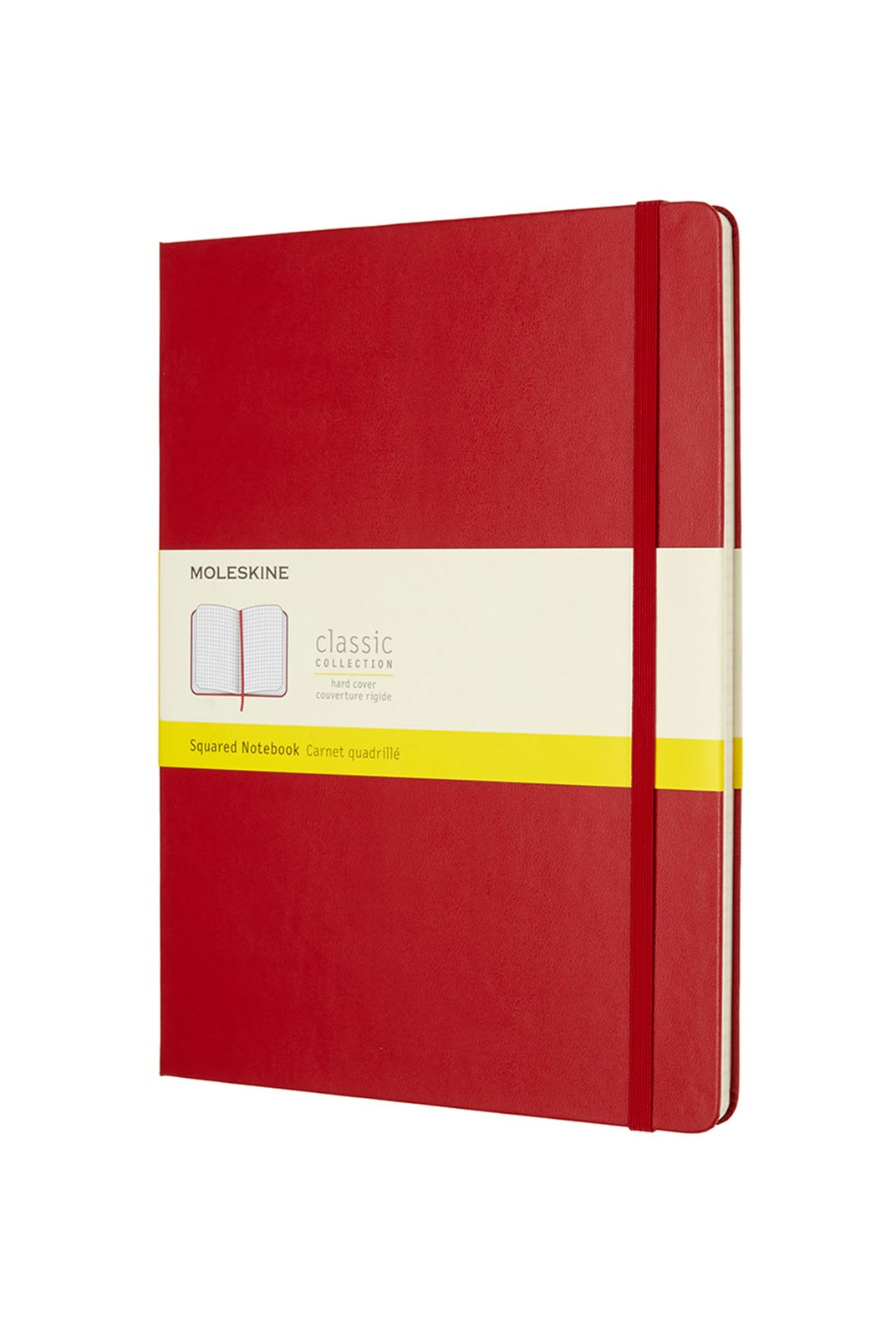 Moleskine - Classic Hard Cover Notebook - Grid - Extra Large - Scarlet Red