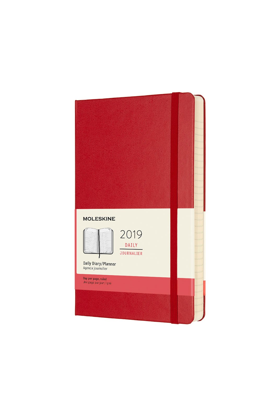 Moleskine - 2019 Hard Cover Diary - Daily - Large - Scarlet Red