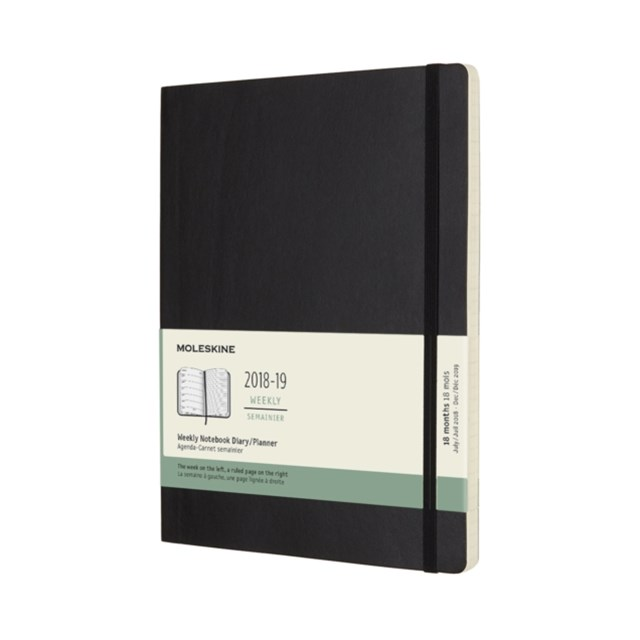 Moleskine - 2018-19 18 Month Soft Cover Diary - Weekly Notebook - Extra Large - Black