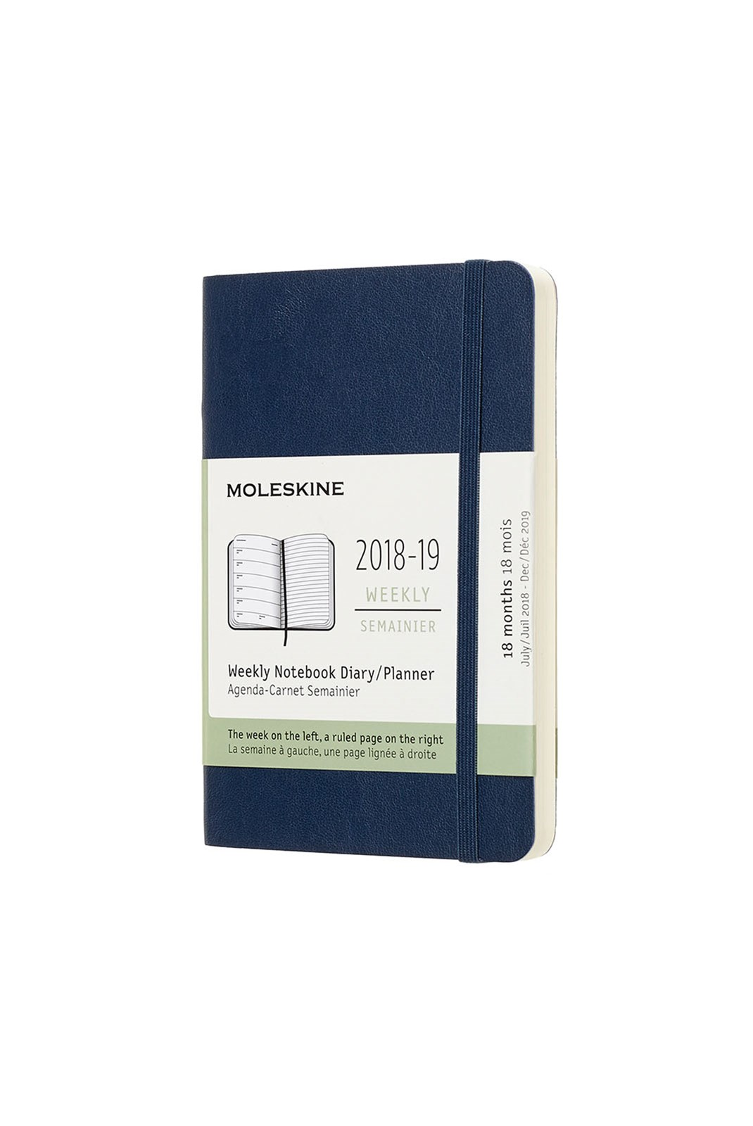 Moleskine - 2018-19 18 Month Soft Cover Diary - Weekly Notebook - Pocket - Sapphire Blue
