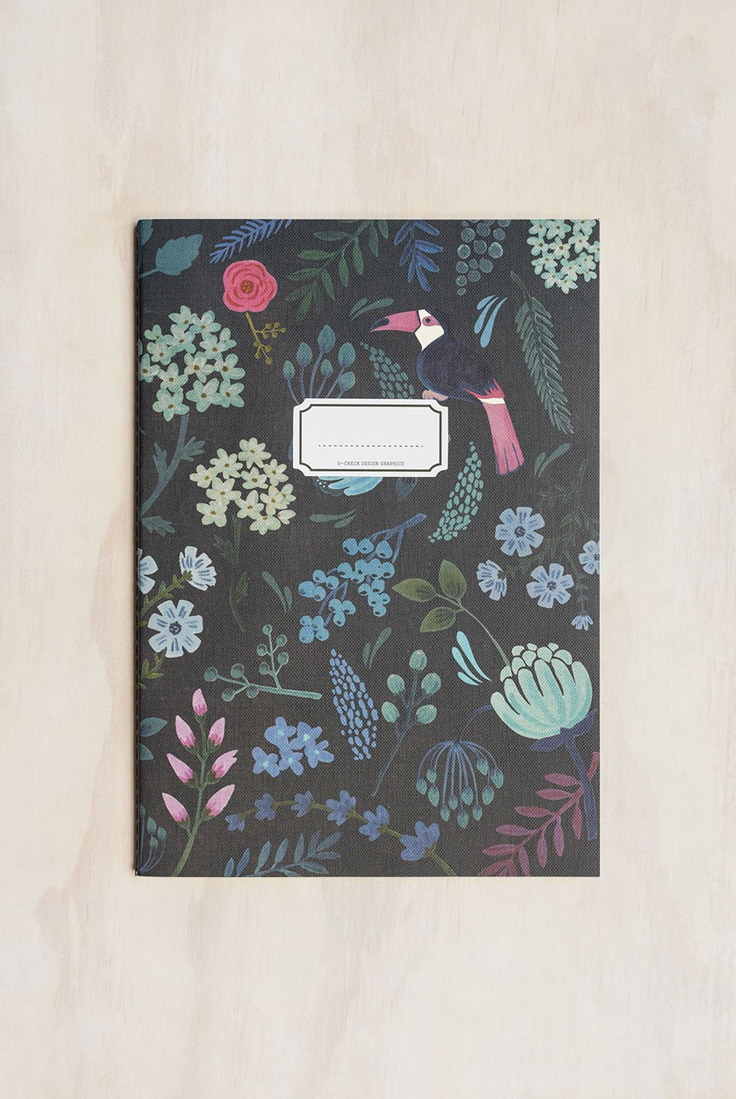O-Check Design Graphics - Cahier Notebook - Ruled - Large - Garden Black