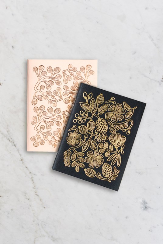 Rifle Paper Co - Pack of 2 Notebooks - Plain - Pocket - Gold Foil