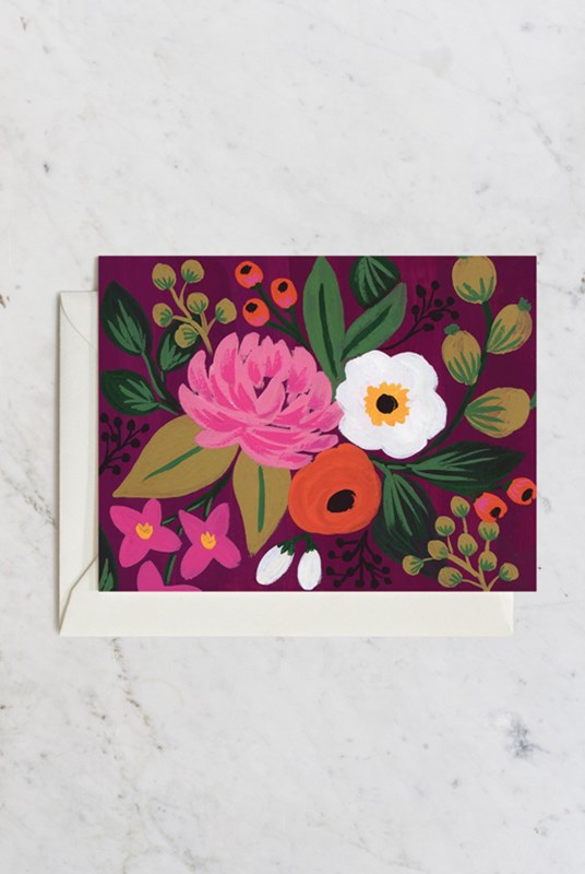 Rifle Paper Co - Single Card - Botanical - Blossoms Burgundy