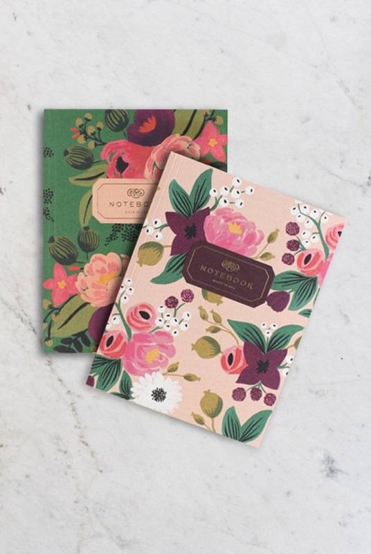Rifle Paper Co - Pack of 2 Notebooks - Plain - Large - Vintage Blossoms