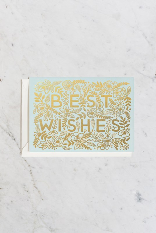 Rifle Paper Co - Single Card - Golden Best Wishes