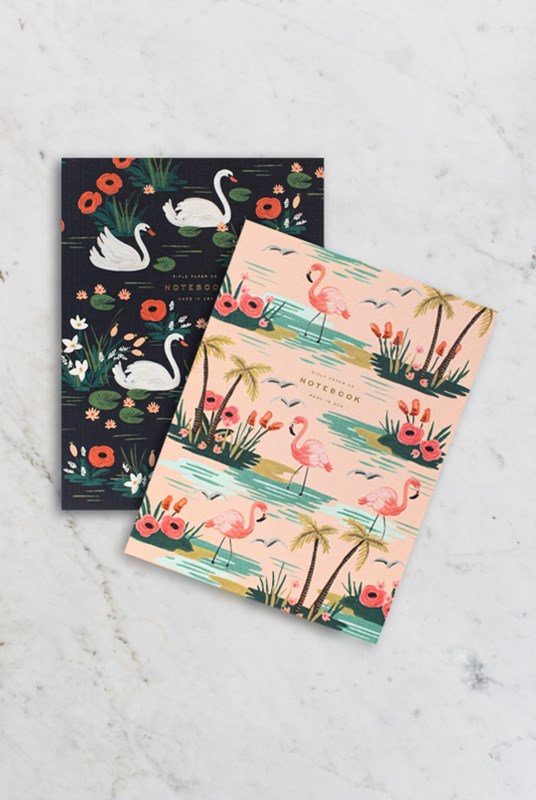 Rifle Paper Co - Pack of 2 Notebooks - Plain - Large - Birds of a Feather