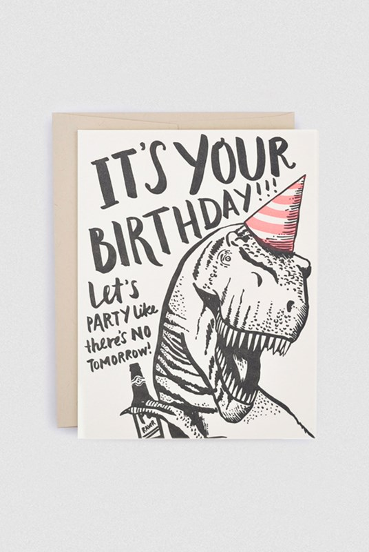 Hello Lucky - Single Card - T-Rex Birthday