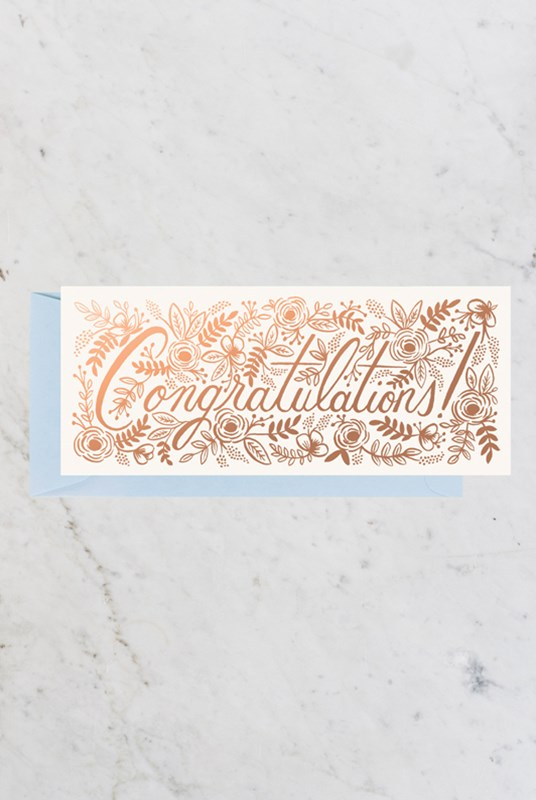 Rifle Paper Co - Single Long Card - Champagne Floral Congrats No. 10