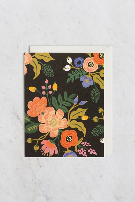 Rifle Paper Co - Single Card - Lively Floral Black