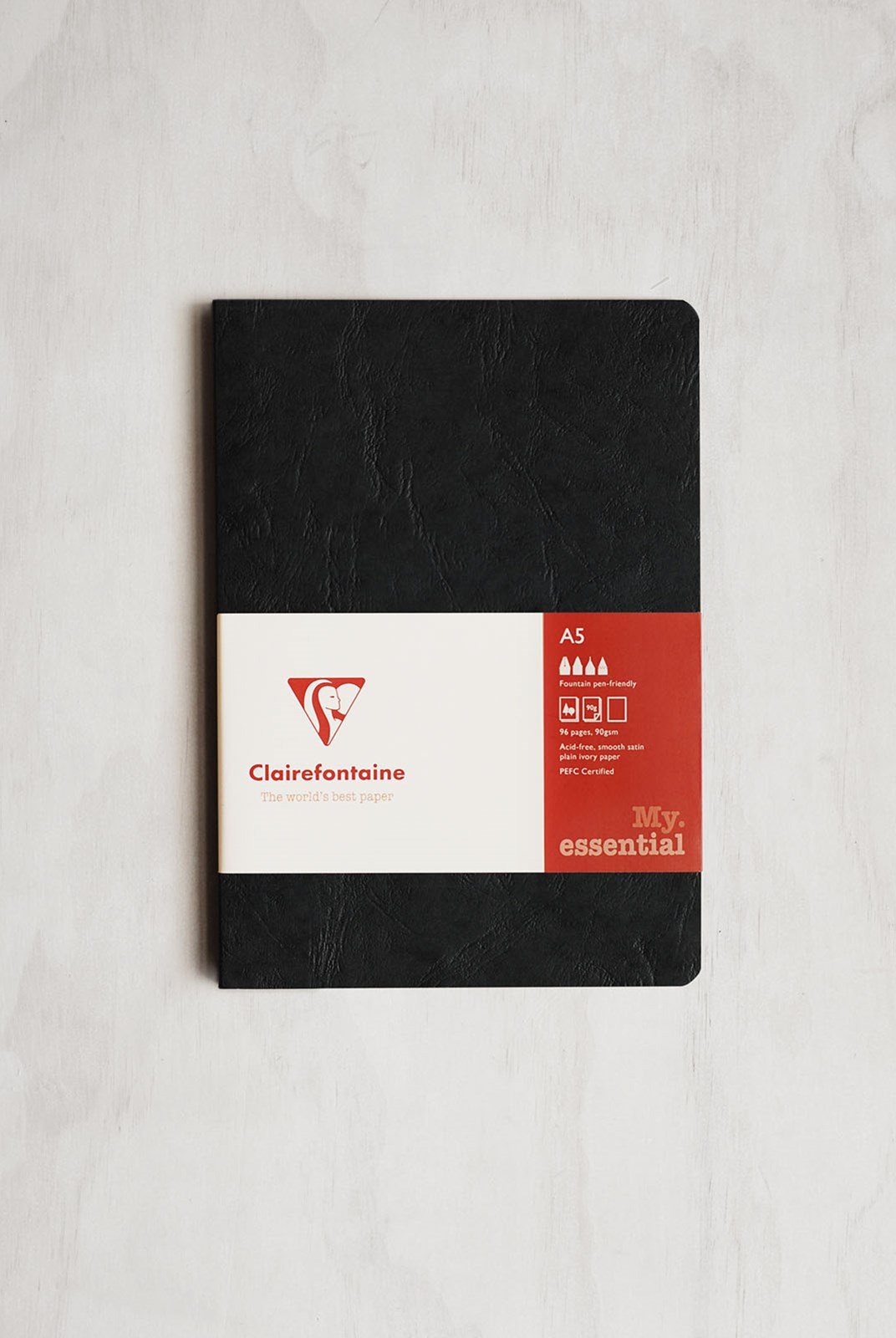 Clairefontaine - Essentials Square Edged Notebook - Plain - A5 - Black