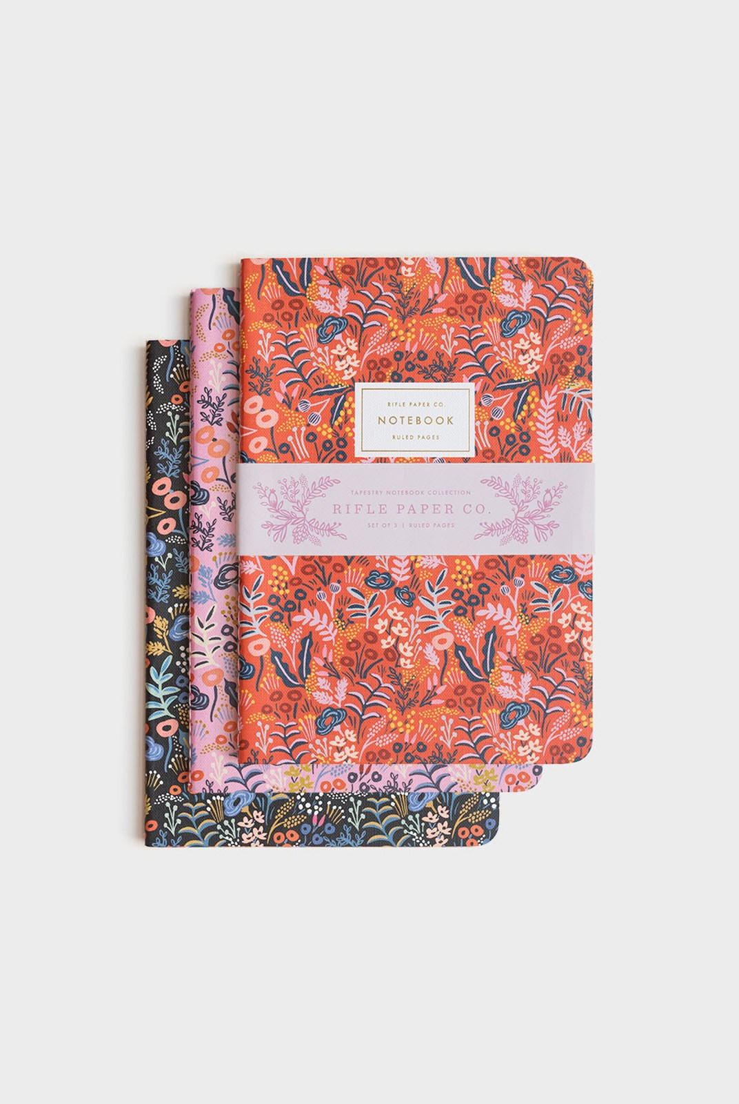 Rifle Paper Co - Pack of 3 Stitched Notebooks - Ruled - Large - Tapestry