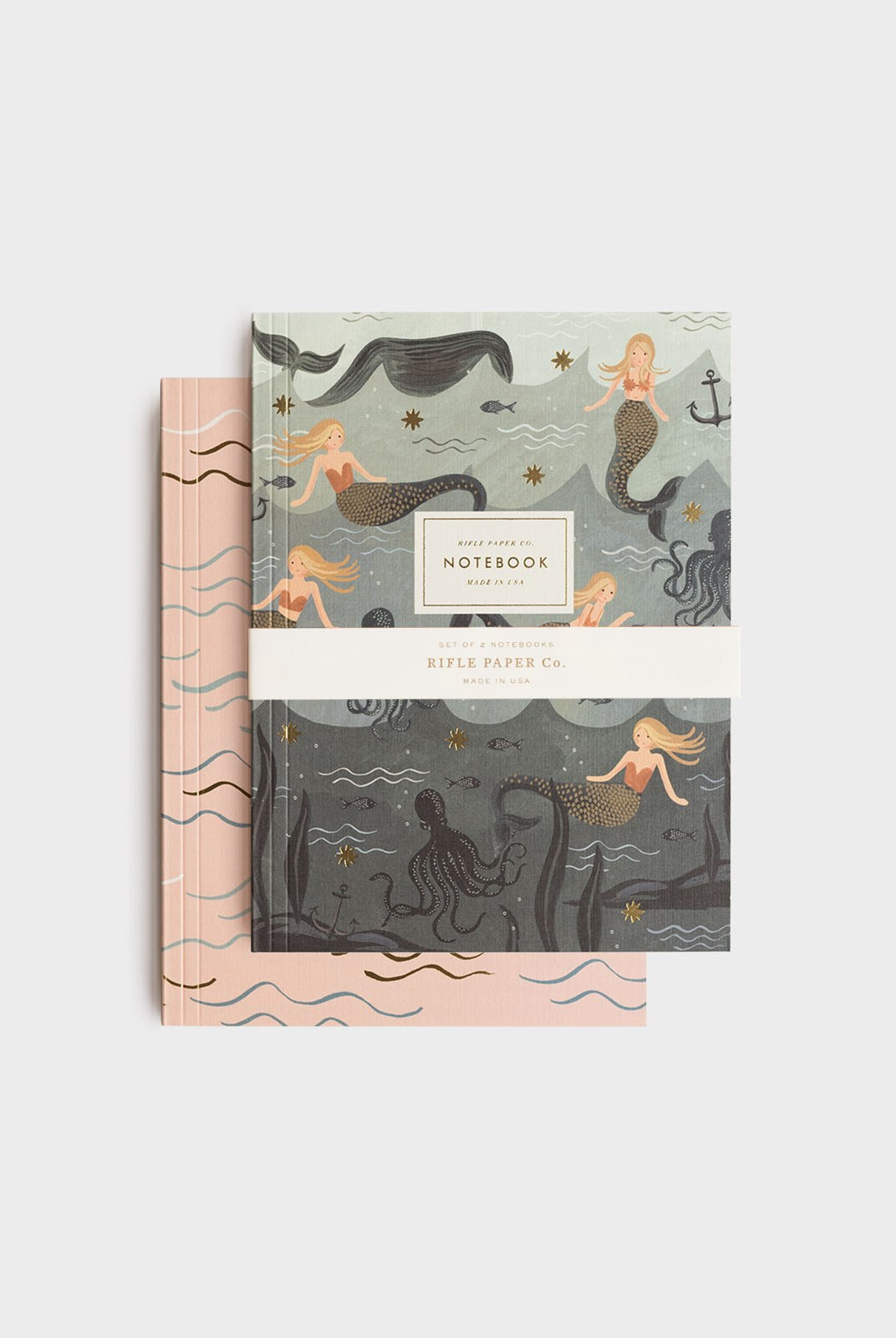 Rifle Paper Co - Pack of 2 Notebooks - Plain - Large - Vintage Mermaid