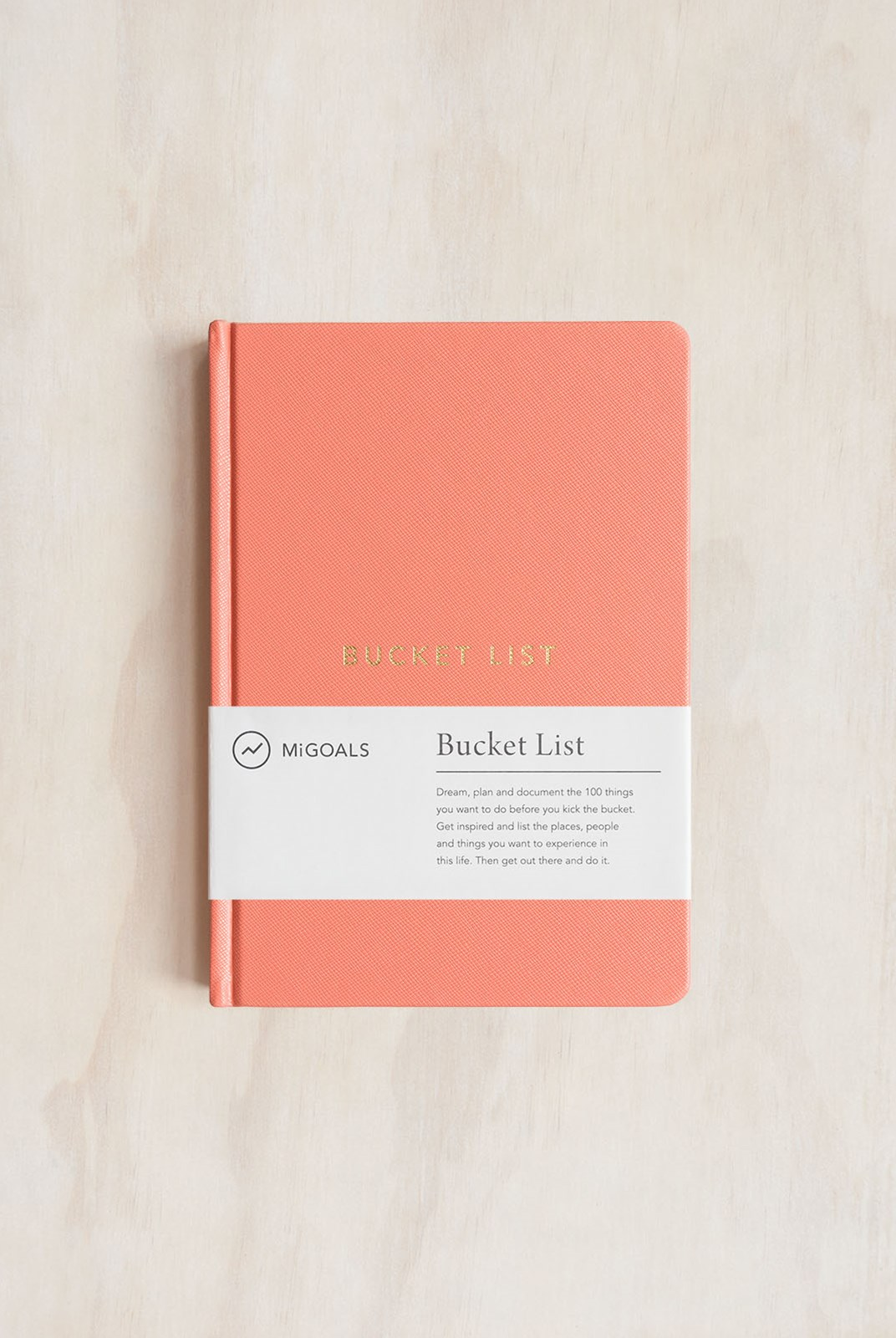 MiGoals - Bucket List Notebook - A5 - Hard Cover - Coral & Gold Foil